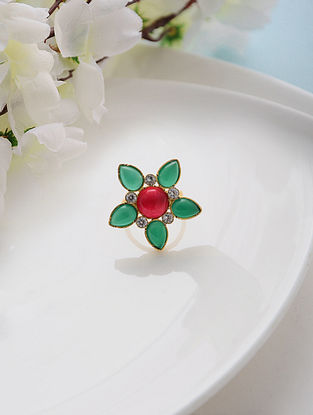 Red-Green Onyx Adjustable Silver Ring