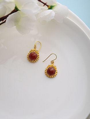 Red Quartz Gold Tone Silver Earrings