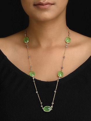 Aventurine and Labradorite Gold Tone Silver Necklace
