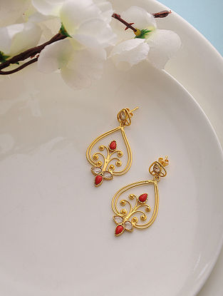 Coral and Polki-inspired Gold Tone Silver Earrings