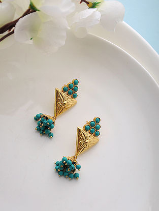 Turquoise Gold Tone Silver Jhumkis