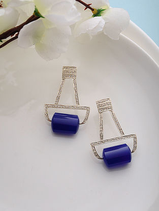 Blue Quartz Gold Tone Silver Earrings