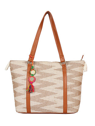 Beige-White Handcrafted Cotton Jacquard Tote Bag