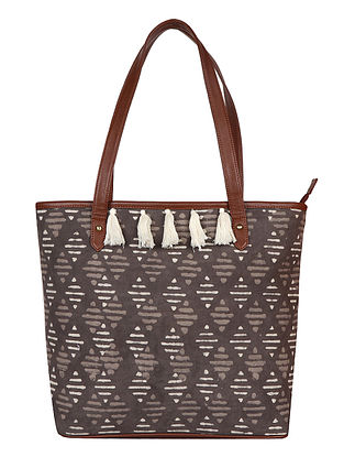 Grey-White Handcrafted Block Printed Cotton Tote Bag