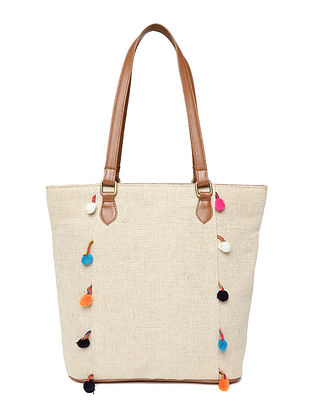 Cream-Brown Handcrafted Jute Tote Bag