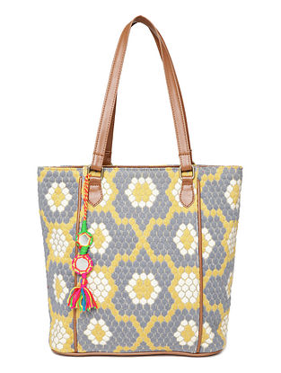 Multicolored Handcrafted Woven Cotton Jacquard Tote Bag