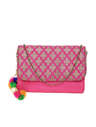 Pink Handcrafted Block Printed Cotton Sling Bag