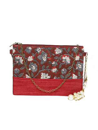 Red-Grey Handcrafted Sling Bag