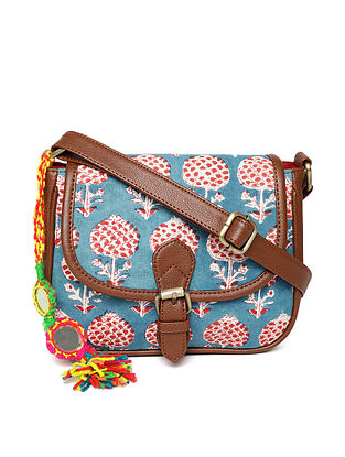 Blue-Multicolored Handcrafted Block Printed Cotton Sling Bag