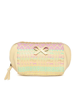 Cream-Multicolored Handcrafted Lurex Jacquard Pouch
