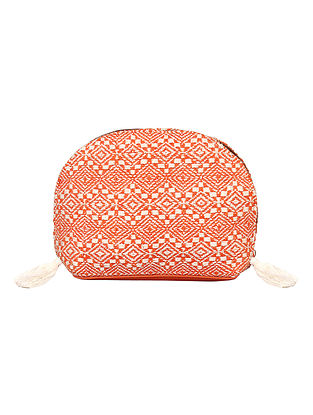 Orange-White Handcrafted Woven Cotton Jacquard Pouch
