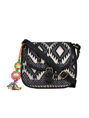 Black-Beige Handcrafted Lurex Jacquard Sling Bag