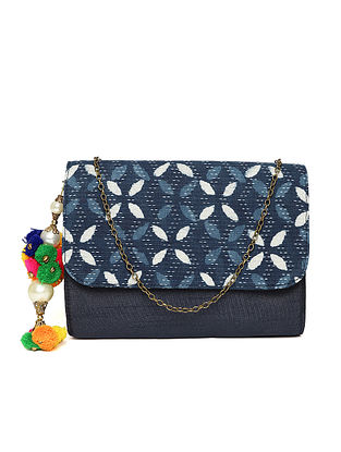 Blue-White Handcrafted Block Printed Cotton Sling Bag