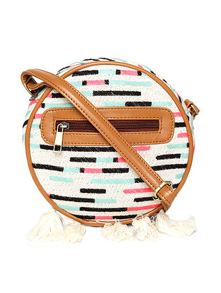 Multicolored Handcrafted Woven Cotton Jacquard Sling Bag