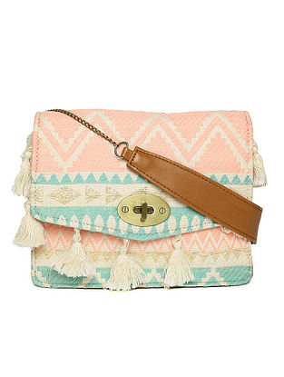 Pink-Blue Handcrafted Woven Cotton Jacquard Sling Bag