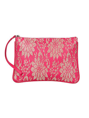 Pink-White Handcrafted Pouch