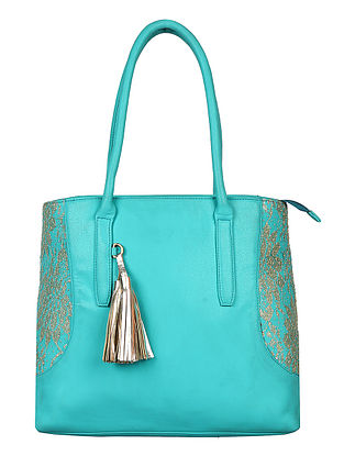 Turquoise-Gold Handcrafted Tote Bag