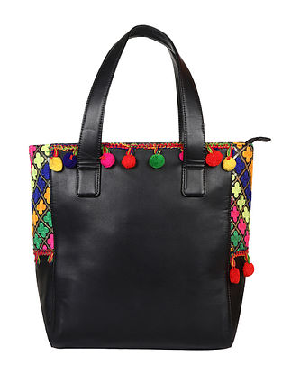 Black-Multicolored Handcrafted Tote Bag