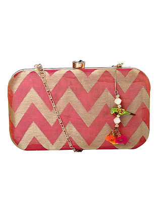 Pink Gold Handcrafted Poly Silk Clutch