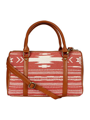Red White Handcrafted Jacquard Duffle Bag