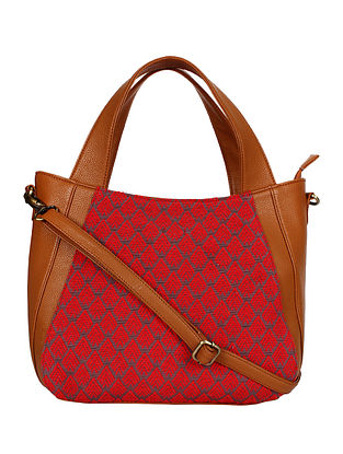 Red Tan Handcrafted Jacquard Tote Bag