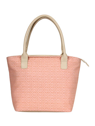 Peach Handcrafted Jacquard Tote Bag