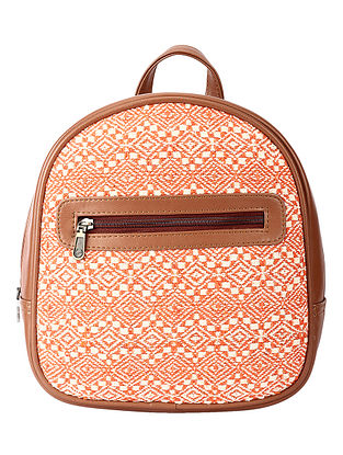 Orange White Handcrafted Jacquard Backpack