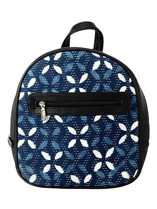 Blue White Handcrafted Jacquard Backpack