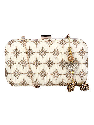 White Gold Handcrafted Embroidered Clutch