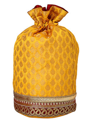 Yellow Red Handcrafted Poly Silk Zari Embroidered Potli