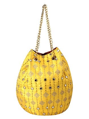 Yellow Handcrafted Poly Silk Embroidered Potli
