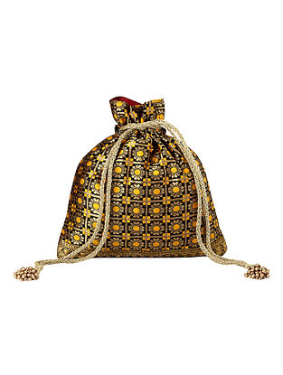 Black Yellow Handcrafted Poly Silk Potli