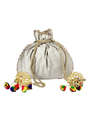 Grey Gold Handcrafted Poly Silk Potli