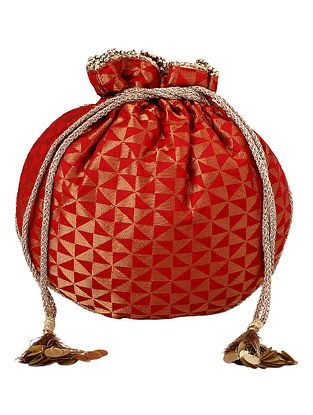 Red Gold Handcrafted Poly Silk Potli