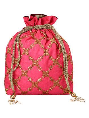Pink Gold Handcrafted Poly Silk Embellished Potli