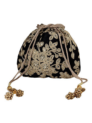 Black Gold Handcrafted Embroidered Poly Silk Potli