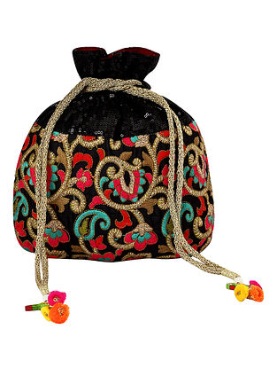 Black Multicolored Handcrafted Embroidered Poly Silk Potli