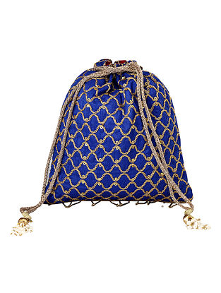 Blue Gold Handcrafted Embroidered Poly Silk Potli