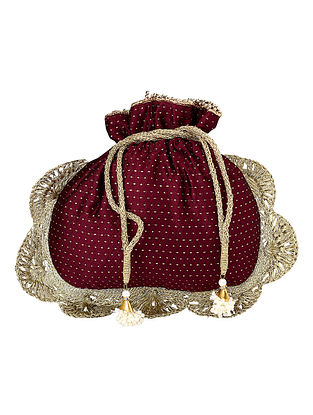 Maroon Gold Handcrafted Poly Silk Potli