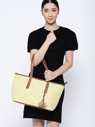 Yellow White Handcrafted Jacquard Tote Bag