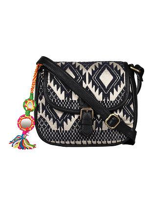 Black Handcrafted Jacquard Sling Bag
