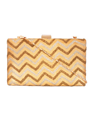 Beige Gold Handcrafted Embellished Poly Silk Clutch