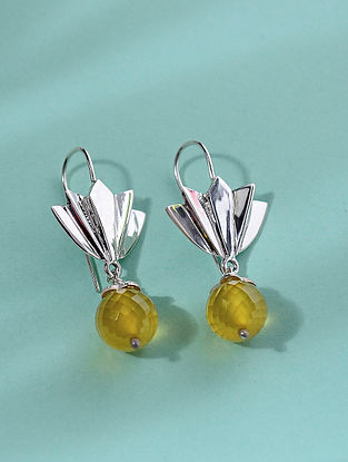 Classic Silver Earrings with Citrine