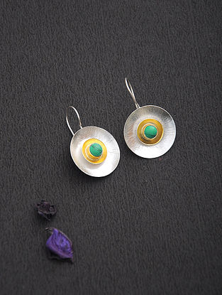 Turquoise Dual Tone Silver Earrings