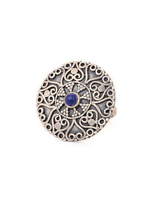 Lapis Lazuli Adjustable Silver Ring