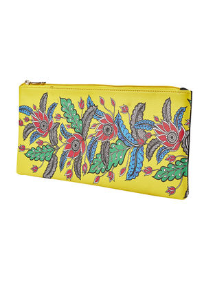 Yellow-Multicolored Handcrafted Madhubani Clutch