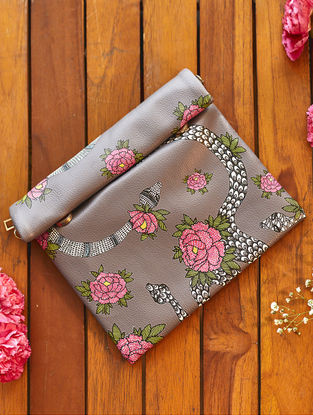 Grey-Pink Handcrafted Madhubani Roll Up Clutch
