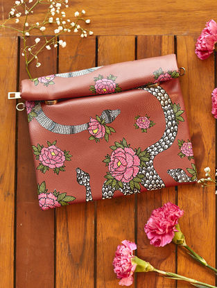 Brown-Pink Handcrafted Madhubani Roll Up Clutch