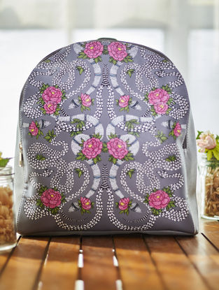 Grey-Pink Handcrafted Madhubani Backpack