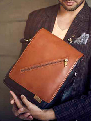 Black-Brown Messenger Bag For Men